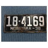 Nebraska License Plate, 1938