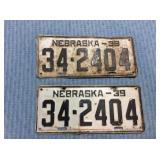 Pair of Nebraska License Plate, 1939