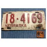 Nebraska License Plate, 1942 w/ 1944 metal tag