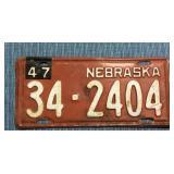 Nebraska License Plate, 1946 w/ 1947 metal tag