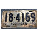 Nebraska License Plate, 1948