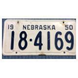 Nebraska License Plate, 1950
