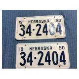 Pair of Nebraska License Plates, 1950