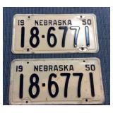 Pair of Nebraska License Plate, 1950