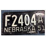 Nebraska License Plate, 1951