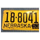 Nebraska License Plate, 1952 w/1953 metal tag
