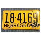 Nebraska License Plate, 1952 w/ 1953 metal tag
