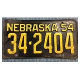 Nebraska License Plate, 1954