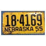 Nebraska License Plate, 1955