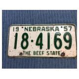 Nebraska License Plate, 1957