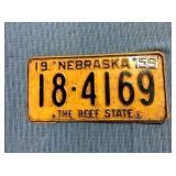 Nebraska License Plate, 1958 w/ 1959 metal tag