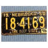 Nebraska License Plate, 1960