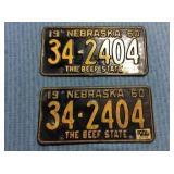 Pair of Nebraska License Plate, 1960