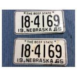 Pair of Nebraska License Plate, 1965