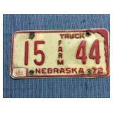 Nebraska License Plate, Farm 1972