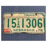 Nebraska License Plate, 1976