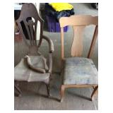 2) Wooden Chairs, both need repaired
