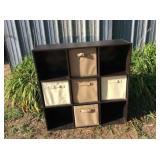9 Cubical Storage w/ 4 Fabric Bins