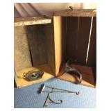 2 Wooden Crates, Cultivator Blade, Candleholder,