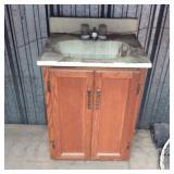 Small Bathroom vanity w/sink & faucet, oak