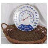 Vintage Basket and Thermometer