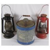 2 Vintage Barn Lanterns & a Metal Kerosene Can