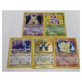 (5) Pokemon Base Set Holo W/ Rares BAD CONDITION