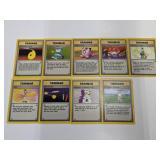 (9) Pokemon Trainer Base Set Rare Cards