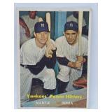 1957 Topps #418 Mantle/Berra Yankees Power Hitters