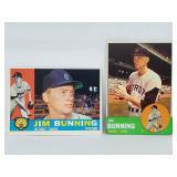 1960 Topps #502 & 1963 Topps #365 Jim Bunning Lot