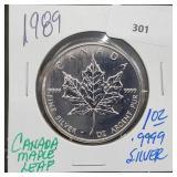 1989 1oz .999 Silver Canada Maple Leaf