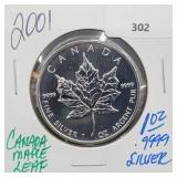 2001 1oz .999 Silver Canada Maple Leaf