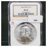 NGC 1986 MS69 1oz .999 Silver Eagle $1 Dollar