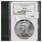 NGC 1987 MS69 1oz .999 Silver Eagle $1 Dollar