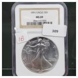 NGC 1991 MS69 1oz .999 Silver Eagle $1 Dollar