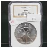 NGC 1996 MS69 1oz .999 Silver Eagle $1 Dollar