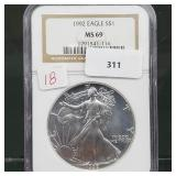 NGC 1992 MS69 1oz .999 Silver Eagle $1 Dollar
