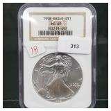 NGC 1998 MS69 1oz .999 Silver Eagle $1 Dollar