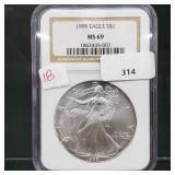NGC 1999 MS69 1oz .999 Silver Eagle $1 Dollar