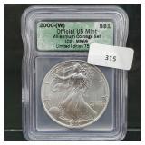 ICG 2000-W MS69 1oz .999 Silver Eagle $1 Dollar