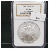 NGC 2008 MS69 1oz .999 Silver Eagle $1 Dollar