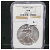 NGC 2009 MS69 1oz .999 Silver Eagle $1 Dollar
