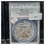 ANACS 2016-S MS69 1oz .999 Silver Eagle $1 Dollar