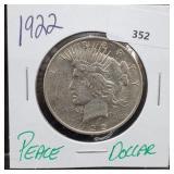 1922 90% Silver Peace $1 Dollar