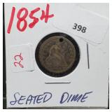 1854 90% Silver Seated Dime 10 Cents