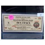 1941 Philippine Natl Bank Ten Pesos Bill