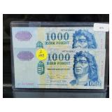 2 1998 Budapest 1000 Forint Bills