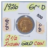 WOW 1926 $2.50 Indian Gold Coin