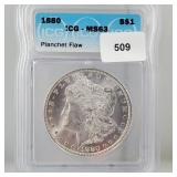ICG 1880 MS63 Planchet Flaw Morgan $1 Dollar