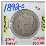 Rare 1892-S 90% Silver Morgan $1 Dollar